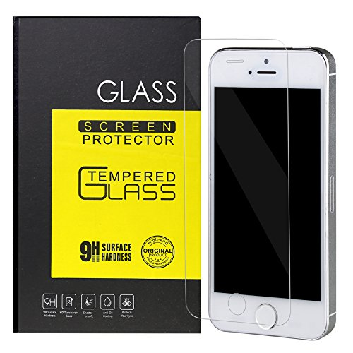 iPhone 5s Screen Protector Tempered Glass,Ultra Thin Slim Clear Bubble Free Anti-scratch Anti-Fingerprint Oil Resistance 9H Hardness Curved Film for iPhone 5/5S/SE/5C