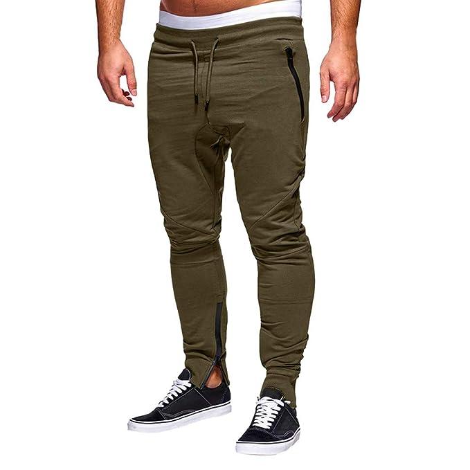 Pantalón Chandal Hombre Deportivos con Cremallera Ajustado Color Sólido  Fitness Gym Invierno Pantalones Derecho Casuales para Hombre Holatee   Amazon.es  ... d892344e2ace