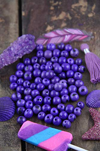 Light Violet : Real, Natural Acai Beads, South American Eco-Beads, 10mm, 100 Beads, Purple, Round, Large Hole, Jewelry Making Supply #WSW_9333