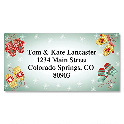 Mittens Address Labels - Mittens Self-Adhesive Address Labels - Flat-Sheet Border Labels, 1 1/8 x 2 1/4 Count 144