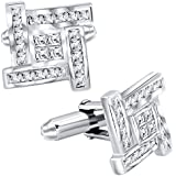 Sterling Manufacturers Men's Sterling Silver .925 Cufflinks with Princess-Cut Cubic Zirconia Stones 16mm. By