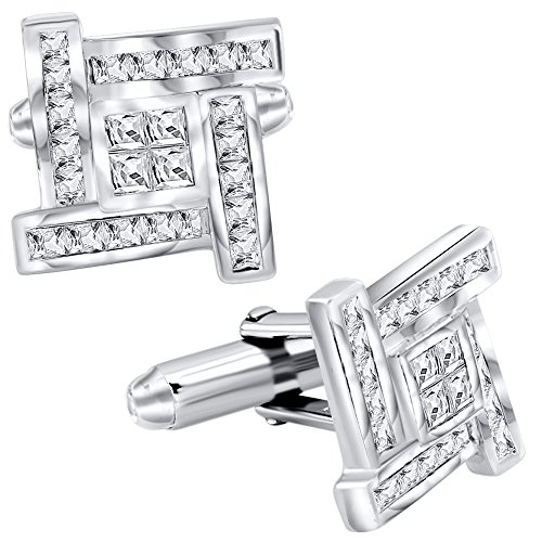 Cut Silver Cufflinks (Sterling Manufacturers Men's Sterling Silver .925 Cufflinks with Princess-Cut Cubic Zirconia Stones 16mm. By)