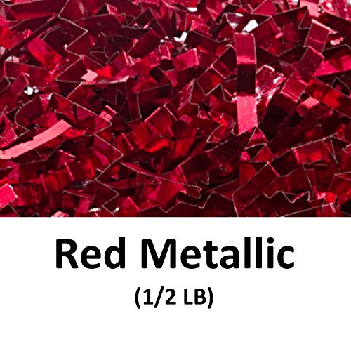 Crinkle Cut Paper Shred Filler (1/2 LB) for Gift Wrapping & Basket Filling - Red Metallic | MagicWater Supply