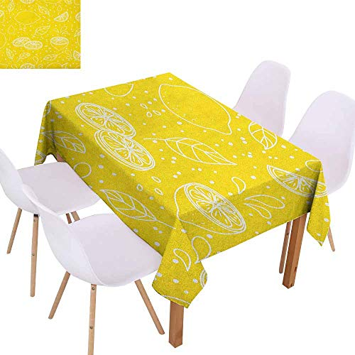 Marilec Wrinkle Resistant Tablecloth Yellow and White Fresh Artistic Pattern Juicy Lemons Organic Citrus Ripe Fruit Vegetarian and Durable W50 xL80 Yellow White