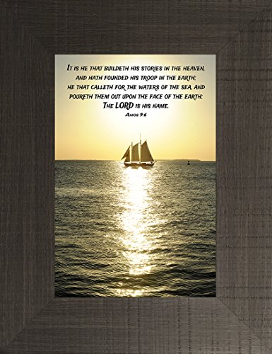 Waters of the Sea By Todd Thunstedt 26x20 Sunset Ship Key West Pirate Galleon Mast Regatta Religious Bible Verse Quote Saying Jesus Testament Old New Framed Art Print Wall Décor Picture