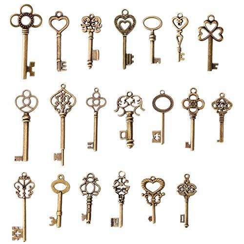 (SL crafts Mixed Set of 20 Skeleton Keys Antiqued Brass Bronze Charms Pendants Wedding Favor)
