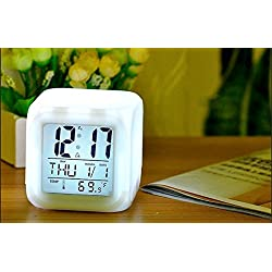 Digital Alarm Clocks-Digital Alarm Thermometer Night Glowing Cube 7 Colors Clock LED Change LCD