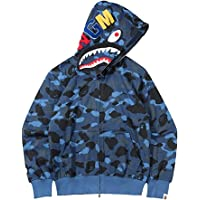 OLIVIAYDS Herr BAPE Shark Head huvtröja, jacka, hiphop, 3D-tryck, lätt, dragkedja, kamouflage, sweatshirt, casual, lös…