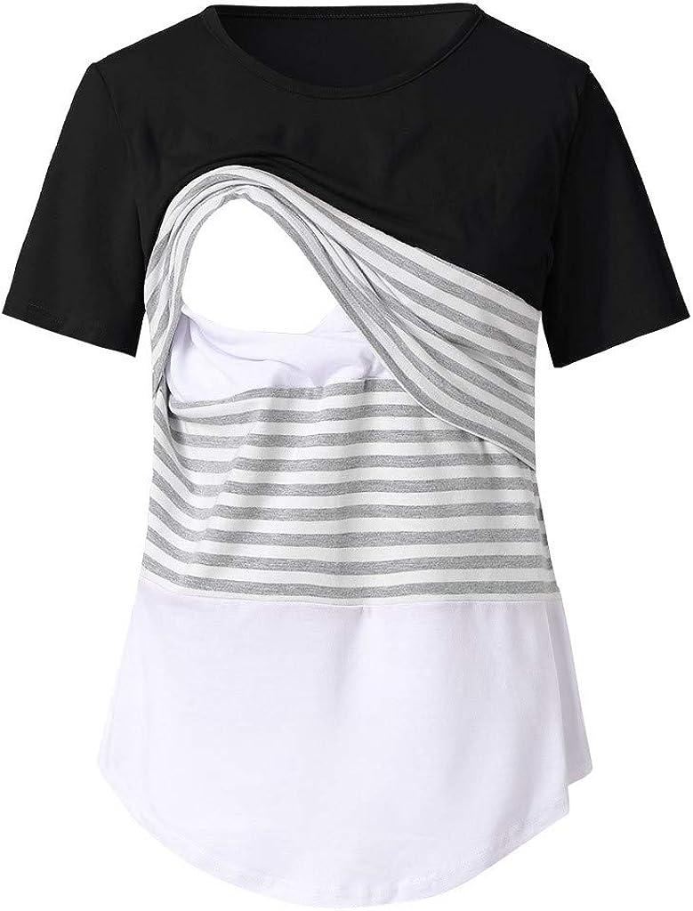 FORUU 2020 New Cute Maternity Shirts Summer Pregnant O-Neck Short Sleeve Solid Nursing Shirts for Breastfeeding