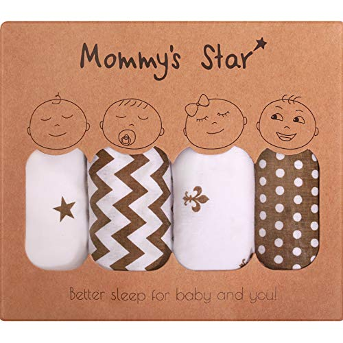Premium Baby Swaddle Blanket Adjustable Wrap By Mommys Star - 100% Extra Soft Organic Cotton Silent Velcro - 4 Cute & Unisex Designs - Perfect For 1-4 Month Newborn Baby Boys Or Girls - Gift Box Pack