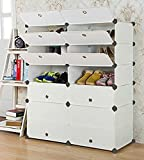 UNICOO - Multi Use DIY Plastic 10 Cube Shoe Rack ,Organizer, Bookcase, Shoes Cabinet (25 With Boots Cube, White Wood Grain)