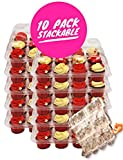 [10 Pack] Stackable 12 Slot Plastic Clamshell Cupcake Carriers, Container and Tray| Transport 120 Cupcakes or Muffins| Disposable, Reusable Holder| Large High Dome storage, Unhinged Lid
