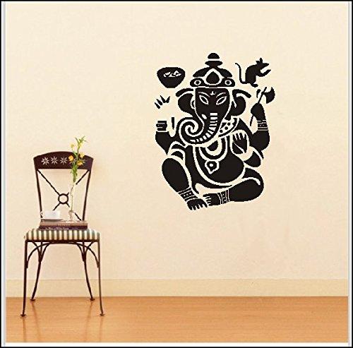 (DNVEN 22 inches x 27.5 inches Wall Vinyl Sticker Decals Decor Art Bedroom Design Mural Ganesh Om Elephant Lord Hindu Success Buddha India God Tribal Pattern Yoga Bedroom Dorm Tatoo Head Mandala Tribal)