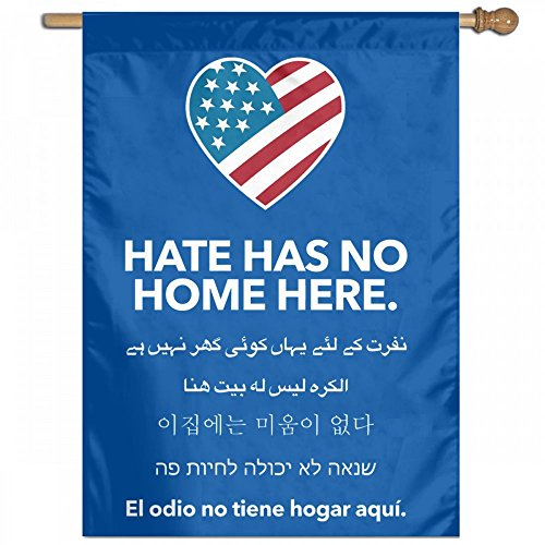 YERZ Hate Has No Home Here Blue Garden Flag Banner For House