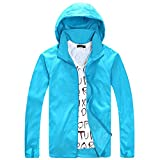 Lobinsun Women's Lightweight Outdoor Sports Jacket Anti-Uv Quick Dry Windproof Windbreaker Sky Blue Large
