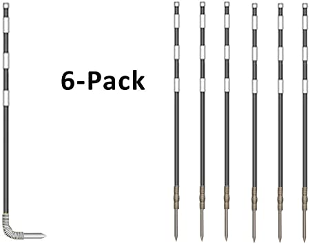 """Frozen Ground Penetrating Spikes Easy Installation 4ft Fiberglass Flexible Round Rebounding /""""Spring Loaded Poles/"""" with Night Time Reflective Marks Rebound Reflective Driveway Markers 6Pk Orange"""