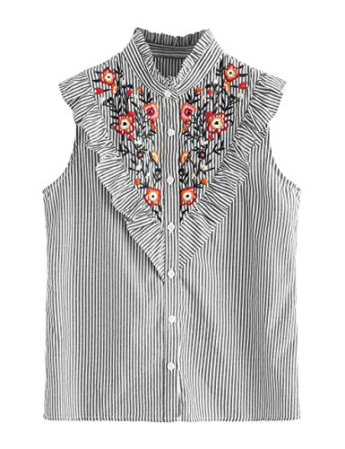 (Floerns Women's Vertical Striped Ruffle Floral Embroidery Blouse Shirts Black and White XL)