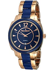Peugeot Womens 7096RBL Rose-Gold and Blue Bracelet Watch