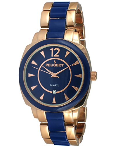 Peugeot Women's 7096RBL Rose-Gold and Blue Bracelet Watch