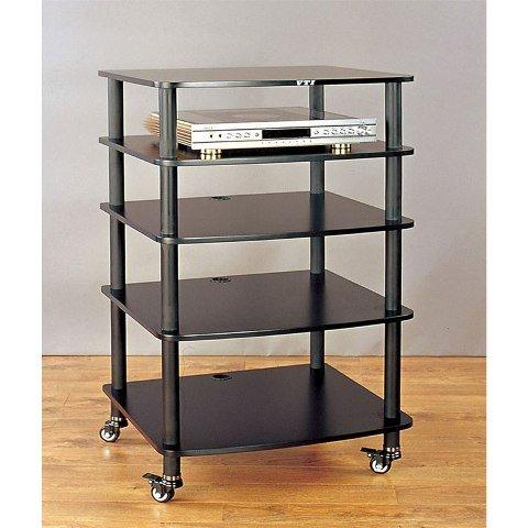 VTI AR405 5 Shelf Audio Rack with Casters-Black//Black Black//Black