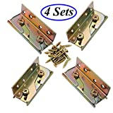 Socell 4 Sets Bed Rail Brackets Heavy Duty No-Mortise Bed Rail Fittings Wooden Bed Frame Connectors with Screws for Headboards Footboards Hold