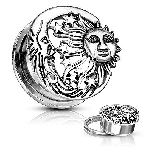 Pair of Dynamique Moon, Star & Sun Antique Silver Plated Top 316L Surgical Steel Screw Fit Flesh Tunnels