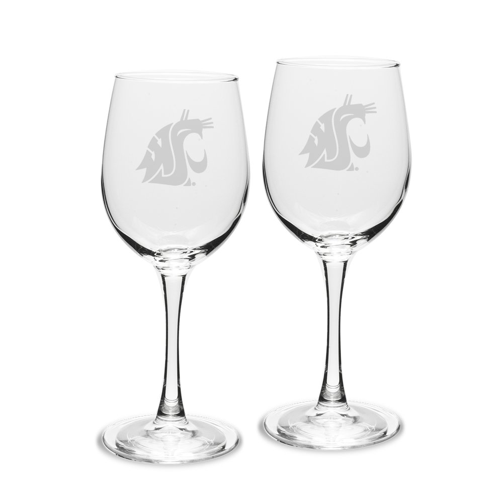 NCAA Washington State Cougars Adult Set of 2-12 oz White Wine Glasses Deep Etch Engraved, One Size, Clear