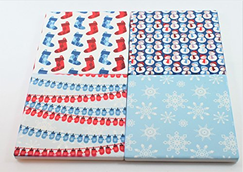 Winter Christmas Absorbent Sandstone Handmade Coasters (Set of 4)