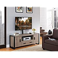 Walker Edison Urban Blend TV Stand with Mount, Driftwood/Black, 60