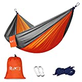 Raku Camping Hammock: Bring this portable Camping Hammock with you for quick and easy relaxation anywhere. You can hang this camping hammock in the woods, on the water, near the fire, in the mountains, by the river or on a canyon. Gives you the freed...