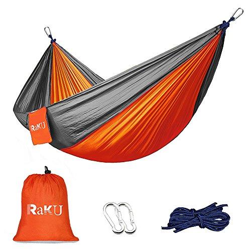 Raku Camping Hammock, 660lb Portable Lightweight Parachute Nylon Fabric Hammock for Outdoor, Hiking, Camping, Backpacking, Travel, Backyard, Beach,1 YEAR WARRANTY