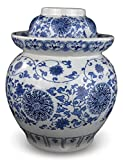 12'' Medium Blue and White Porcelain Pickling Jar with 2 Lids Fermenting Pickling Kimchi Crock Jingdezhen Chinese (12)