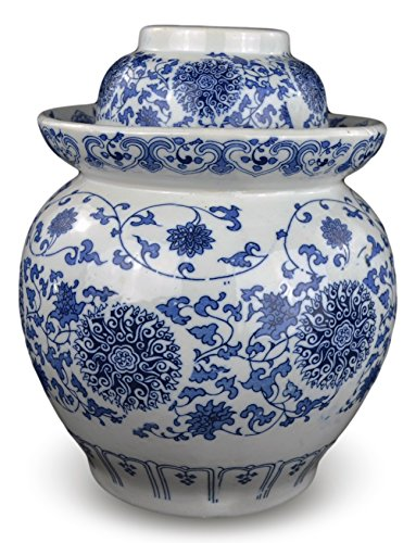 12'' Medium Blue and White Porcelain Pickling Jar with 2 Lids Fermenting Pickling Kimchi Crock Jingdezhen Chinese (12) by Festcool