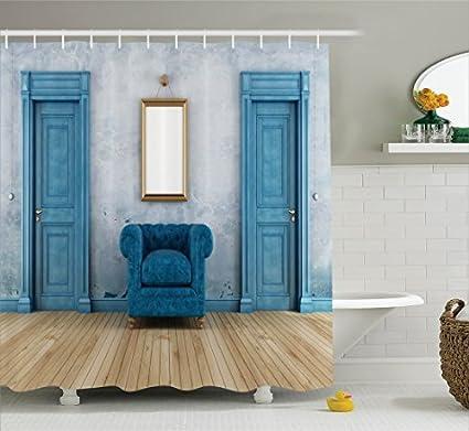 RHATTOWN Barn Door Shower Curtain Encouraging Mirror Empty Room