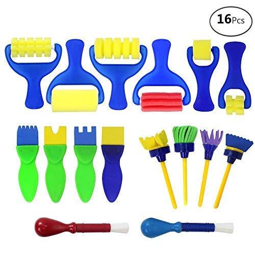 APLANET 16pcs Mini Painting Foam Sponge Brush Tools For Kids Painting Learning