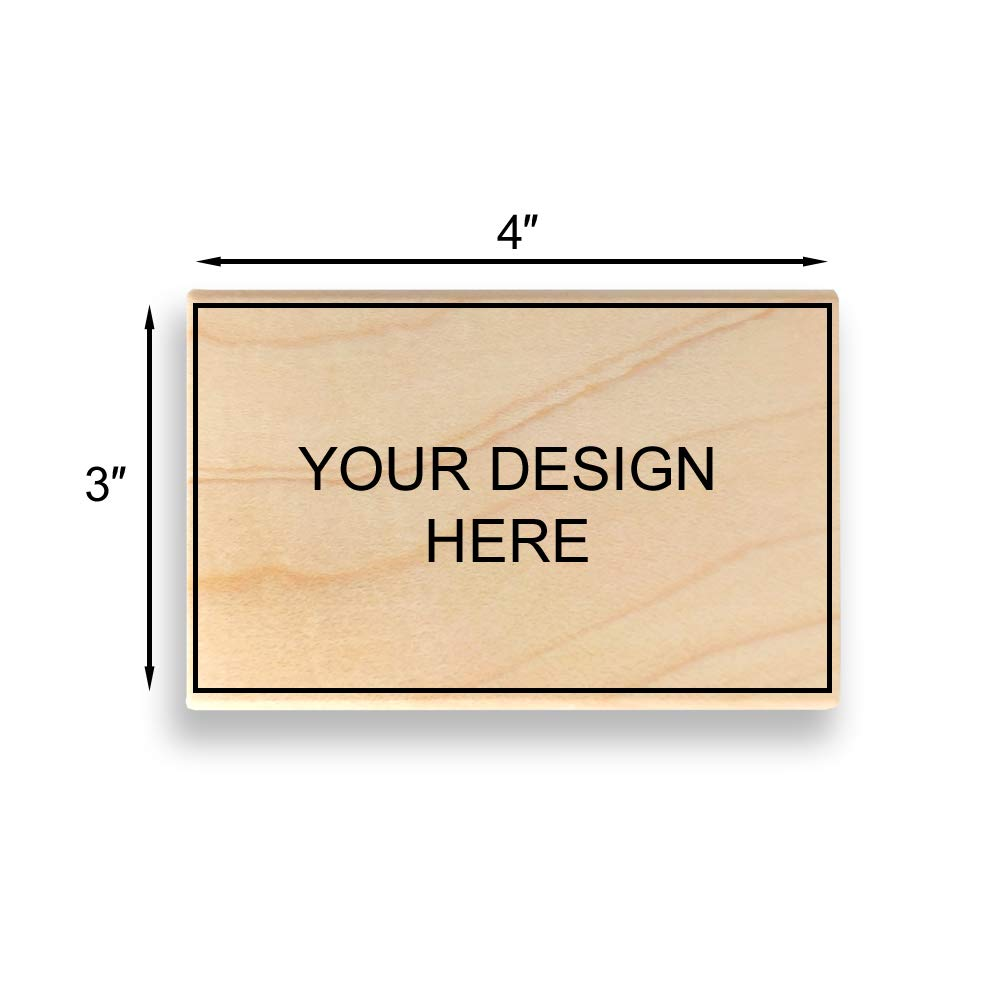 Custom Art Mount Rubber Stamp. Max. Image Size: 3'' high x 4'' Wide (75mm x 101mm) - Many Sizes to Choose from - Upload Your Own Artwork