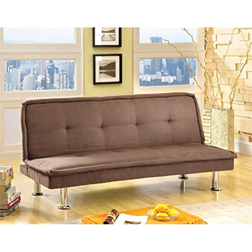 Furniture of America Caden Microfiber Sleeper Sofa Bed in Dark Beige
