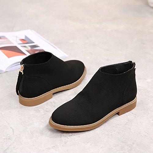 Meeshine Womens Leather Western Zipper Low Heel Round Toe Suede Ankle Booties Black Vog98pL