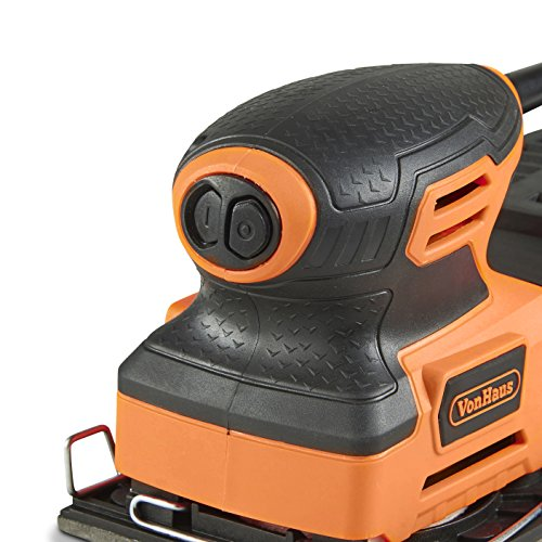 VonHaus 2.2 Amp 1/4 Sheet Palm Sander Kit with 15000 RPM, Fast Clamping System, Dust Collector and 5 Sandpaper Sheets - Ideal for Detailed Sanding by VonHaus (Image #8)