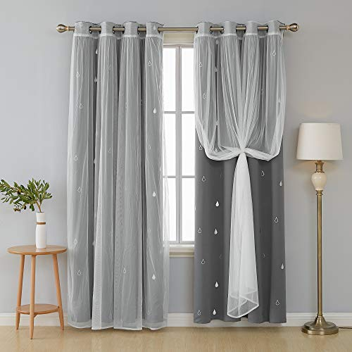 Deconovo Mix and Match Curtain Set 2-Piece Silver Raindrops Foil Print Grommet Blackout Curtains Grey and 2-Piece White Voile Sheer for Bedroom with Grommet Top, 4 Curtain Panel, 52W x 84L Inch