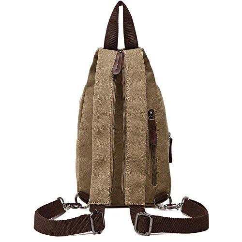 Womens Vintage Backpack Khaki Leather Pack Hiking Mens Chest Bag Gendi Sling Canvas 54pnq
