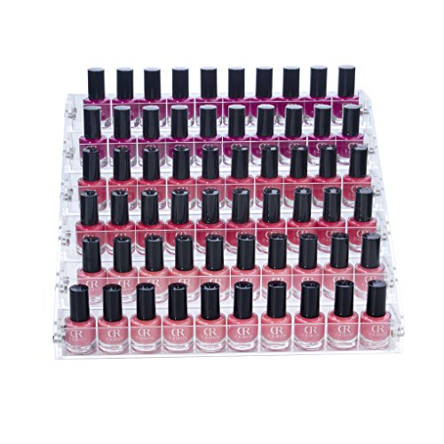 Acrylic Bottle Holder - Benbilry Acrylic Nail Polish Holder 6 Tier Organizer Rack Holds Up to 60 Bottles