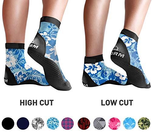 BPS Lycra LC Fin Socks - Blue Floral XS