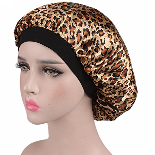 YLing Satin Sleep Cap For Women,Full Coverage Soft Night Sleep Hat Cap Salon Bonnet (Night Leopard)