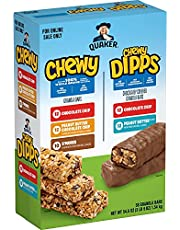Quaker Bars Granola Bars 5 Flavor 58ct, Chewy & Dipps Variety Pack, 58 Count