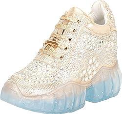 Crystal Rhinestone Lace-Up Wedge Sneaker