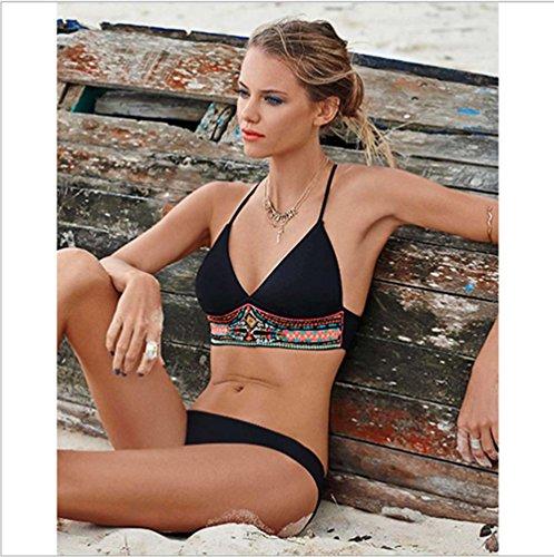 BUSL Bikini traje de baño partido del traje de baño de moda atractiva Black
