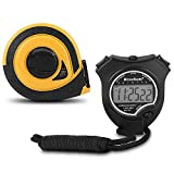 Stopwatch Timer BizoeRade Coach Digital Sports Stopwatch with 65ft Retractable Tape Measure for Training Measurement