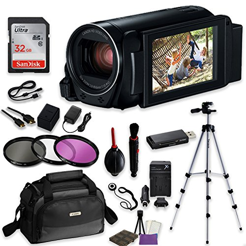 Canon VIXIA HF R800 Camcorder (Black) Video Professional Bundle with Sandisk 32 GB SD Memory Card + Filters + Canon Case + Accessory Bundle by Canon