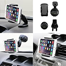 iKross 3in1 Universal Compact Windshield / Dashboard / Air Vent Car Mount Holder + 2-Port USB Car Charger Adapter + Micro USB Cable for HTC One (M8) / (M7), Desire / Desire 601, One Max, One Mini, Samsung Motorola LG Nokia and more Cellphone Smartphone